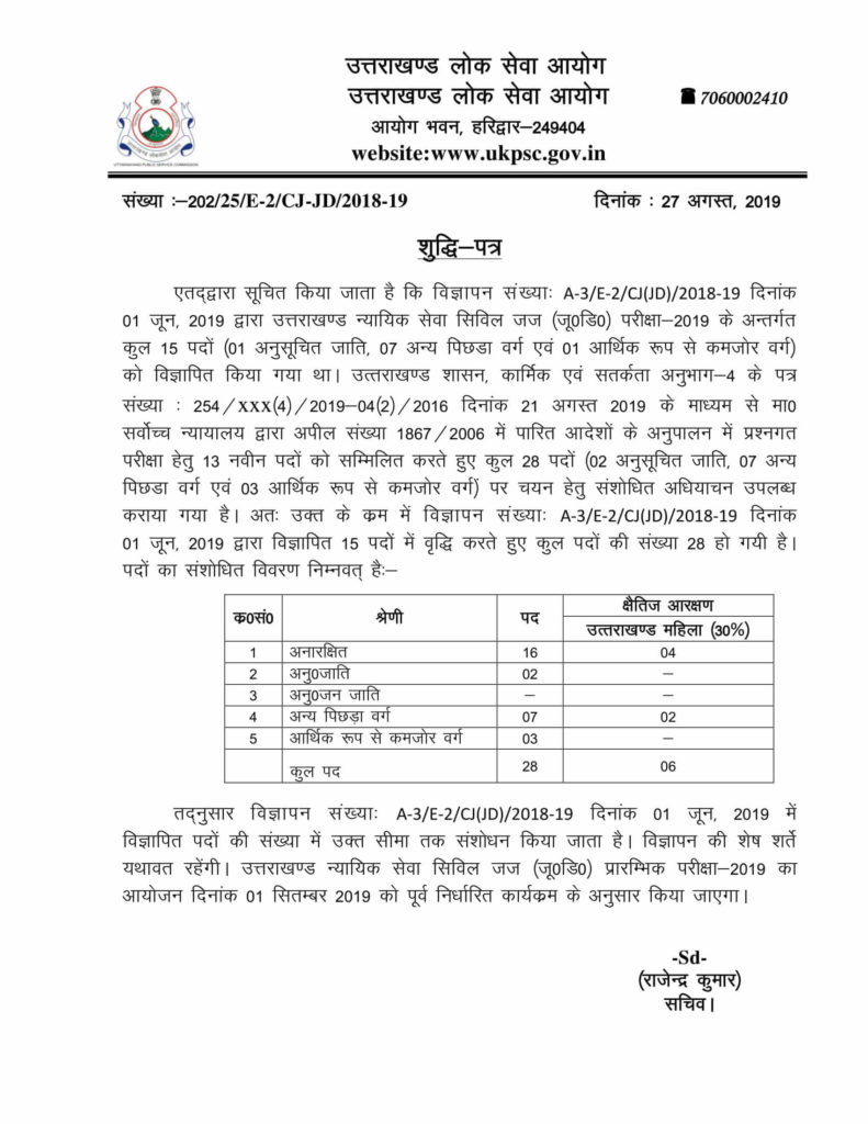 UKPSC Uttarakhand Judicial Service Civil Judge (JD) Examination-2019 Notification