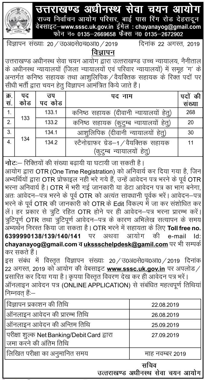 UKSSSC Junior Assistant and Stenographer / Personal Assistant posts Recruitment 2019
