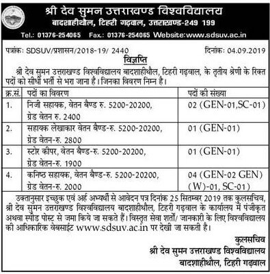Shri Dev Suman University, Uttarakhand direct recruitment to third category vacancies