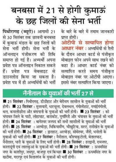 Uttarakhand Banbasa Army recruitment from 21 to 30 September 2019
