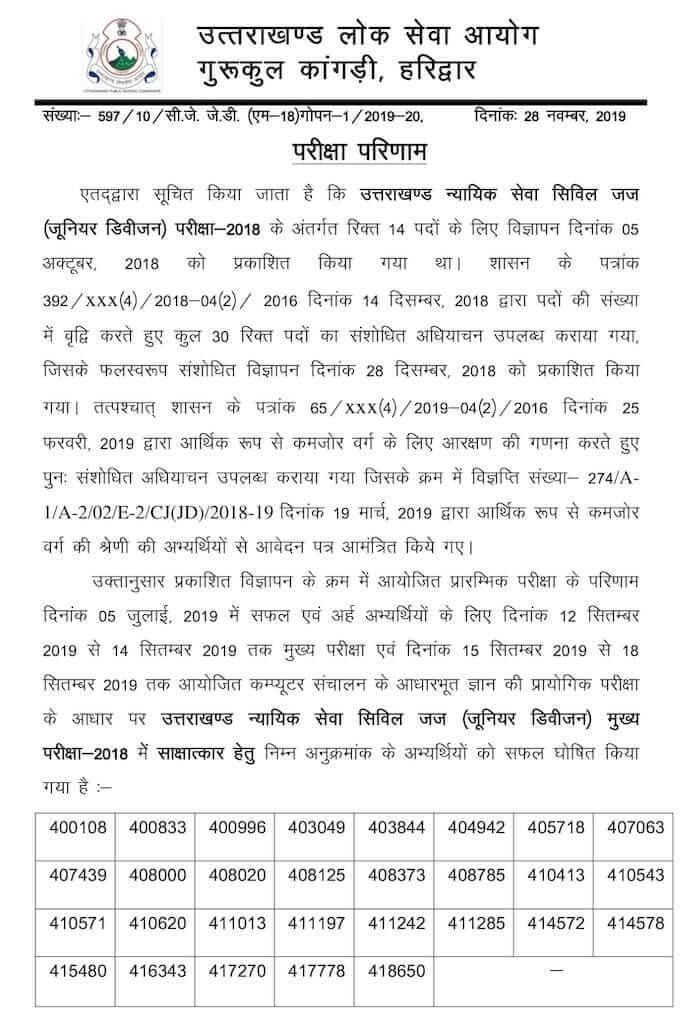 UKPSC Uttarakhand Civil Judge (J.D.) Main Exam-2018 Result