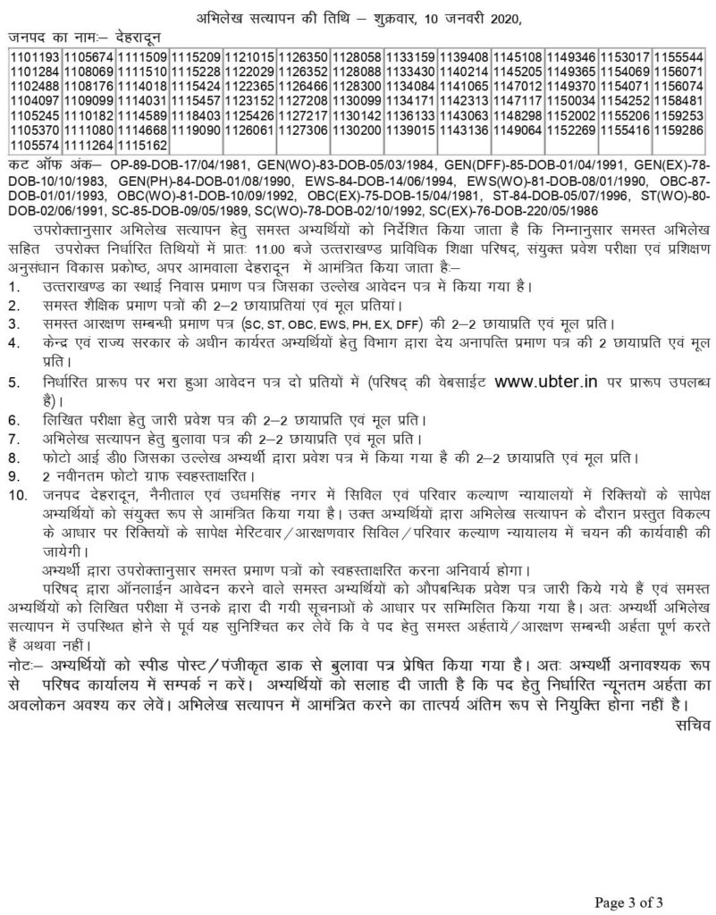 UBTER Group D Recruitment In State Judiciary Uttarakhand (Civil & Family Courts) Result